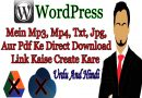 Direct download link in WordPress for mp3, mp4, txt, pdf, jpg without google drive.